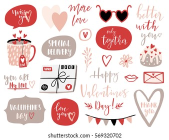 Valentines Day set with love elements, heart, overlays, calligraphy, speech bubbles and etc. Template for Sticker kit, Greeting, Congratulations, Invitations, Planners. Vector illustration