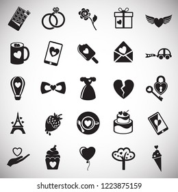 Valentines day set on white background icons