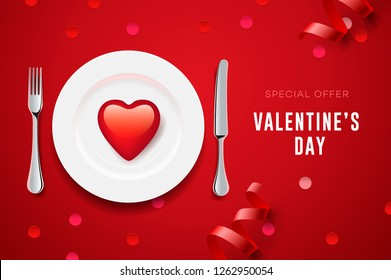 Valentine's day set with red heart on plate and silverware, special dinner, vector illustration.