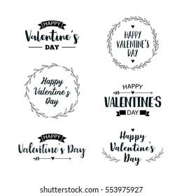 Valentine's Day set of symbols. Illustrations and typography elements with lettering design. Set of typographic Valentines label designs.