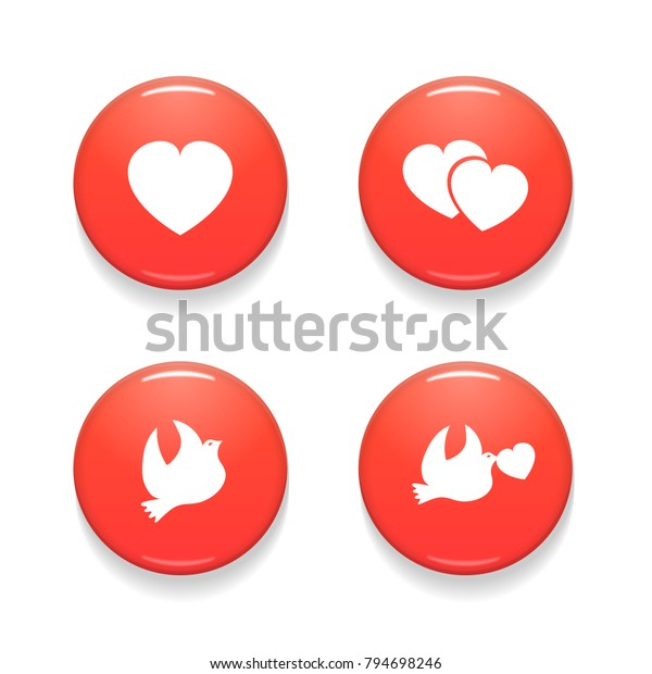 Valentines Day Set of Vector Badges Isolated on White Background. Colorful Glossy Badge Button Icons. Realistic Vector Illustration.