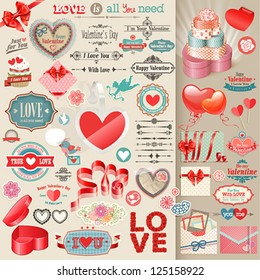Valentine`s Day set - vintage design elements.