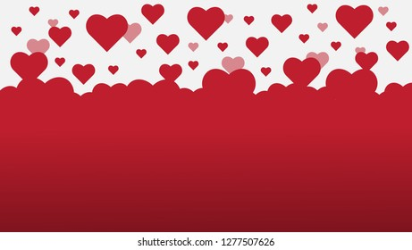 Valentine's Day Simple background design with lots of flying hearts. vector illustration.