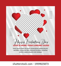 Valentine's Day Social Media Post Template Design, Happy Valentine's Day greeting card, Trendy Valentine's Day editable template for social networks post, vector illustration.