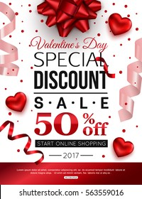 Valentines Day special discount for online shopping. Vector illustration.