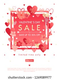 Valentines Day special offer banner with different hearts and gold foil elements.Sale flyer template perfect for prints, flyers, banners, promotions, special offers and more. Vector Valentines promo.