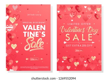 Valentines Day special offer banners with different hearts and golden foil elements.Saletemplates perfect for prints, flyers, banners, promotions, special offers and more. Vector Valentines promos.