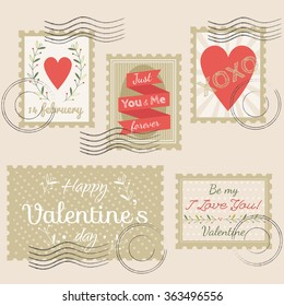 Valentines Day Stamps Vector Set