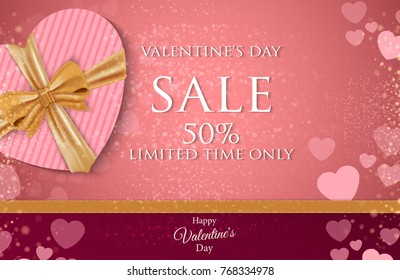 Valentines day super sale 50% background, poster template. Abstract background with heart ornaments.Vector illustration.