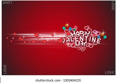 Valentines day Sweet background with of heart flying on pink background. Vector symbols of love for Happy Valentine's Day, birthday greeting card design. - Vector