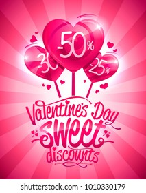 Valentine's day sweet discounts sale poster design, heart shaped candies
