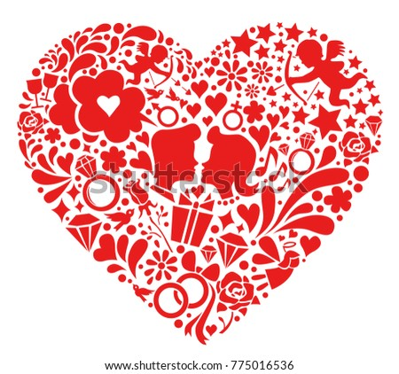 Valentines Day Symbols Into Heart Shaped Stock Vector Royalty Free