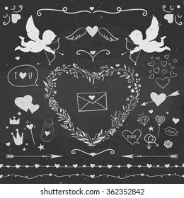 Valentine's Day symbols on a chalkboard: cupids, hearts, candies, arrows, and other cute stuff