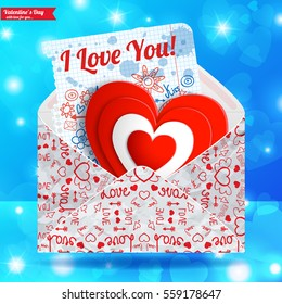 Valentines day template with greeting envelope red heart paper letter text on light blue background vector illustration