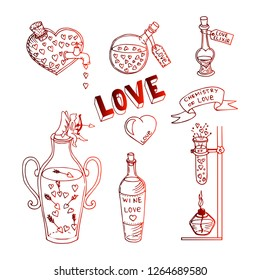 Valentine's Day theme doodle set. Red hand drawn sketch illustration. Traditional romantic symbols: heart shapes, cupid, arrows, gift box, elixir, angel, love letters.