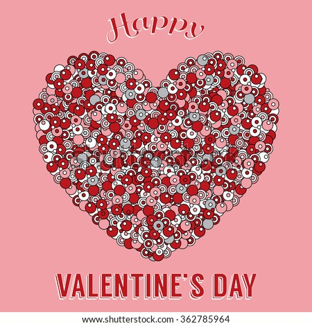 Valentines Day Theme Greeting Card Colored Stock Vector Royalty