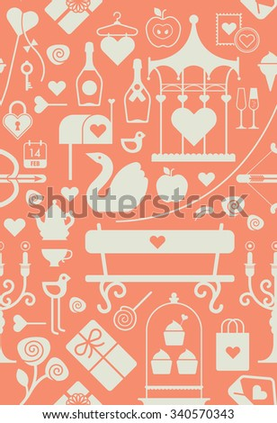 Valentines Day Themed Design Element Symbols Stock Vector Royalty