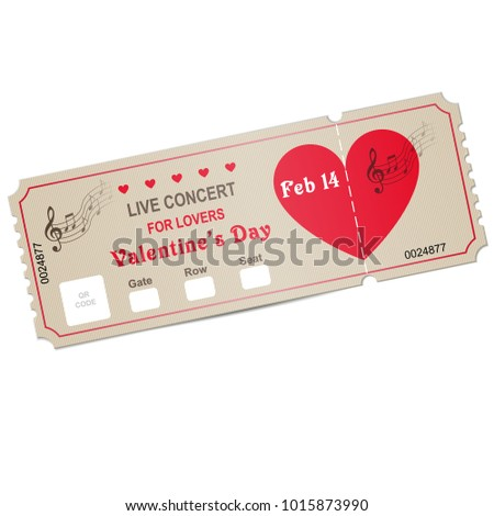 Valentines Day Ticket Music Dance Live Stock Vector Royalty Free