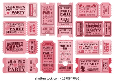 Valentines day tickets templates set. Vector retro coupons for Valentine party access with holiday symbols hearts, arrows, cupid with bow and separation line. Vintage cards for 14 february event