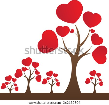 Valentines Day Tree Love Red Heart Stock Vector Royalty Free