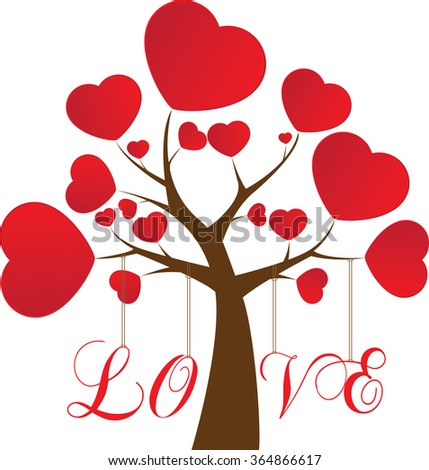 Valentines Day Tree Love Red Hearts Stock Vector Royalty Free