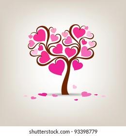 Valentine's Day Tree pink heart vector illustration