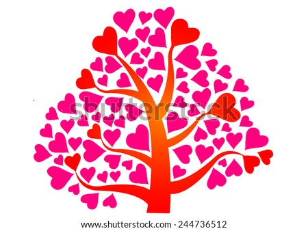 Valentines Day Tree Pink Heart Vector Stock Vector Royalty Free