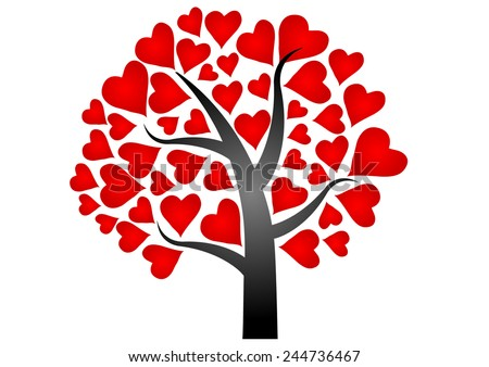 Valentines Day Tree Red Heart Vector Stock Vector Royalty Free