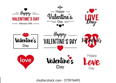 Valentines Day Typographic Text Design for logo, greeting cards decoration, posters, invitations. With heart symbols and frames