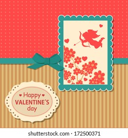 Valentine's day  typographical retro holiday card. Vector illustration