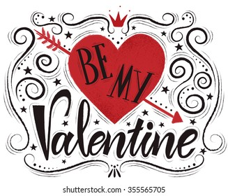 """Valentines day typography illustrations. Postcard with heart silhouette and text """"Be my Valentine"""". Valentine's Day flier template"""