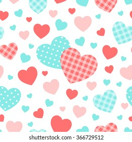 Valentine's day vector background. Seamless pattern. Blue, pink, checkered and polka dots hearts.