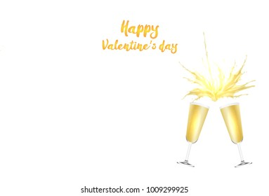Valentine's day vector card with champagne