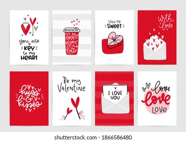 Valentines day vector card set with hearts and love romantic messages in red, grey and white colours.