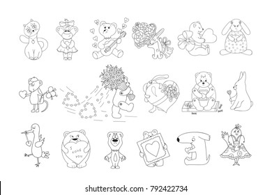 Valentines Day Vector Coloring Pages For Kids Cute Cartoon Animals With Hearts And Flowers