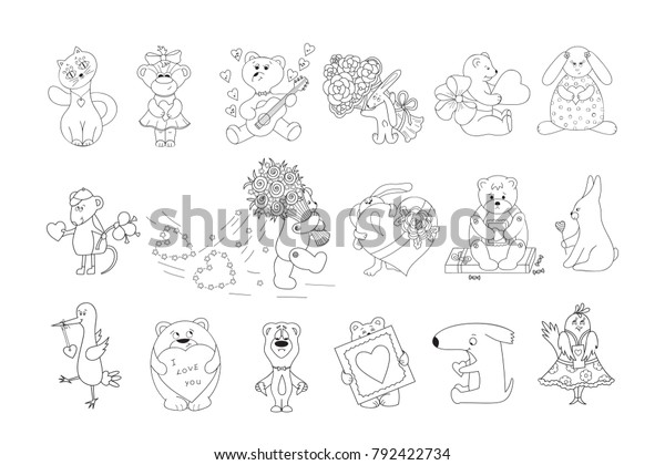 Valentines Day Vector Coloring Pages Kids Stock Vector Royalty