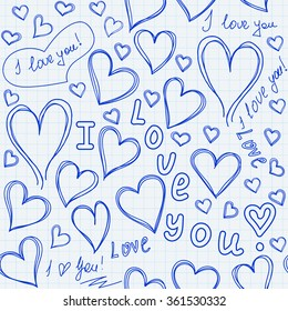 Valentine's day vector endless texture with hearts and words of love handwritten on a sheet of copybook paper