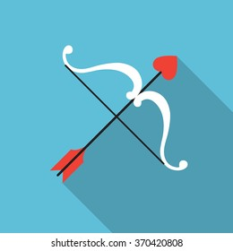 Valentine's day vector flat icon of a cupid bow and an arrow with a heart