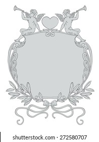 Valentine's Day Vector Frame with Cupid Sitting on a Frame Made of Laurels, Ribbons, Filigree and Hearts. Vintage Style Vector Artwork, Angel Cupid Trumpet Announcement Background