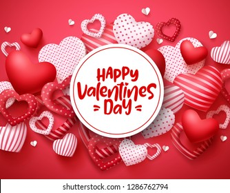 Valentines day vector hearts background template. Happy valentines day greeting text in white space with hearts shape elements and decorations in red background. Vector illustration.