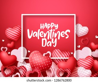 Valentines day vector hearts background. Happy valentines day greeting text in a frame with hearts shape elements and decorations in red background. Vector illustration.