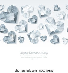 Valentines day vector horizontal white background with 3d silver heart diamonds, gems, jewels. Silver holiday texture for Valentines greeting card, banner, poster, flyer, party invitation.