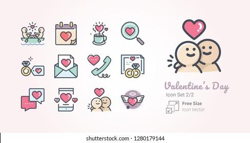 Valentine's Day vector icon set 2