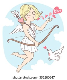 Valentines day vector illustration. Flying cupid girl with bird and hearts. Cute cartoon style. Sky with clouds background.