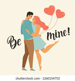 Valentines day vector illustration with young couple in love. Boyfriend and girlfriend smile and hug. Cute lovers with heart shaped balloons.