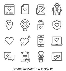 Valentine's day Vector Line Icon Set. Contains such Icons as Love Letter, Couple, Relationship and more. Expanded Stroke