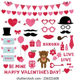 Valentine's Day vector set - photo booth props and design elements