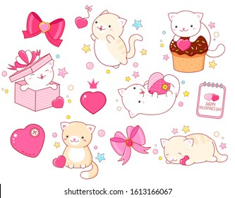 Valentine's day vector stickers collection. Set of cute cats in kawaii style in different situations eating, sleeping, jumping, playing. EPS8