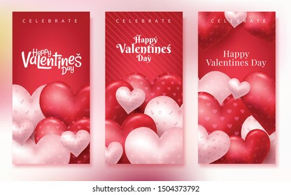 Valentines Day vertical greeting card. Valentines day design for banners, flyers, newsletters, postcards. Space for text. Vector illustration