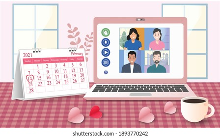 Valentine's day Video meeting of a people group. Online communication. at home on laptops. Composition pictures on a home desk. with Calendar marked on 14th February 2021 paper heart ant Coffee cup.